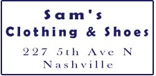 Sam's Clothing and Shoes nashville parking
